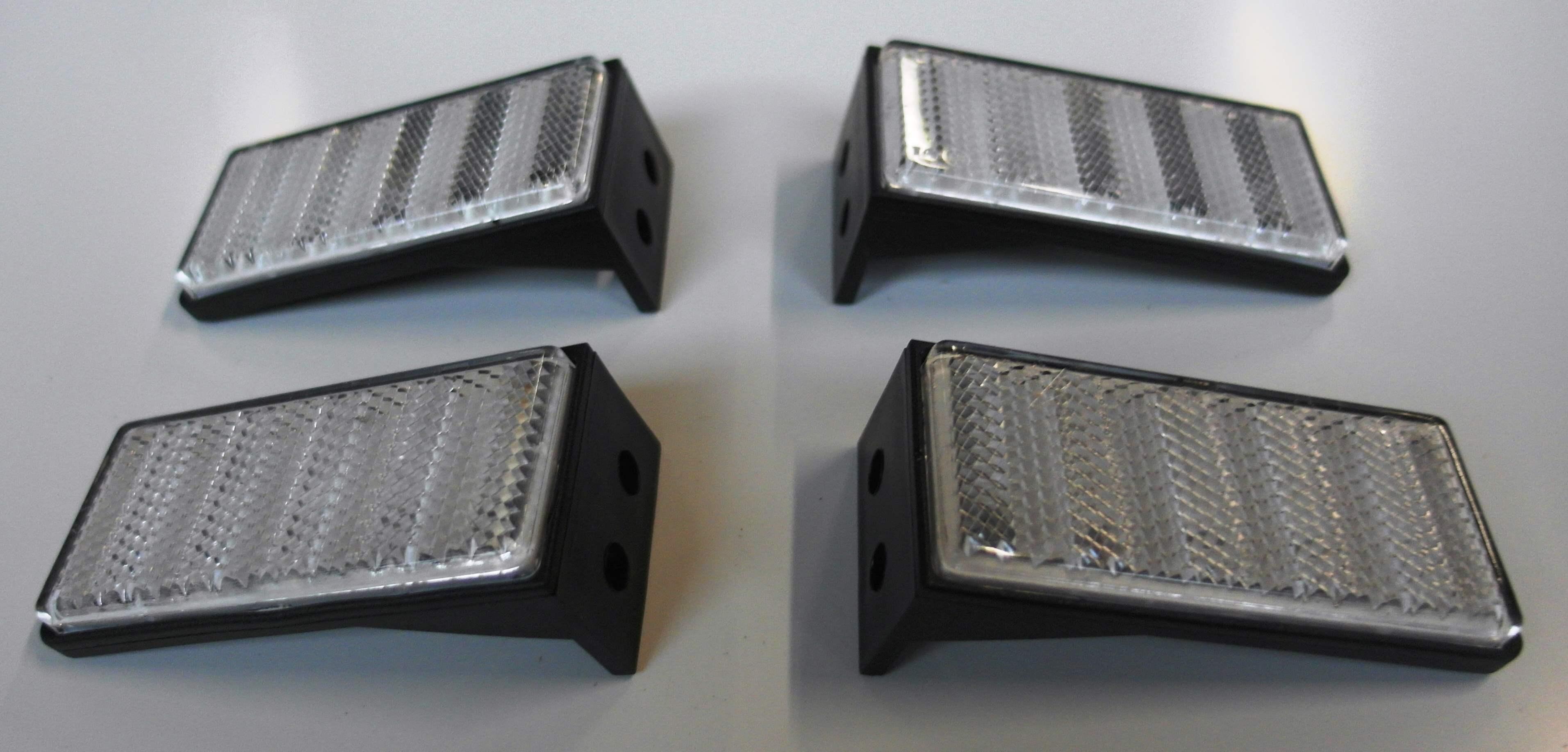 4x Katzenaugen NEU für Auto Anhänger usw SILBER Reflektoren Rückstrahler